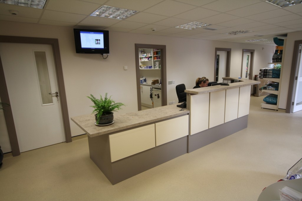 This is the view of our reception desk that you'll see when you are waiting with your pet